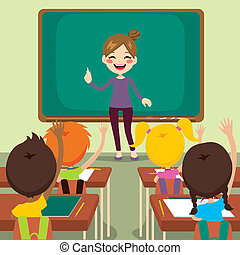 niños de la sala de clase, profesor