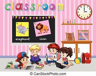niños de la sala de clase, trabajando