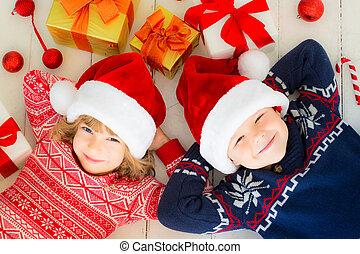niños, decoraciones, navidad