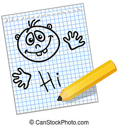 niños, dibujo, en, un, hoja, de, cuaderno