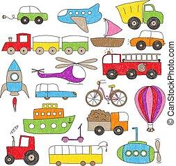 niños, dibujo, estilo, vehículos del juguete