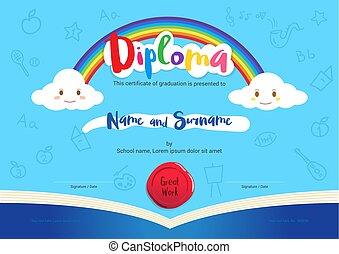 niños, diploma, o, certificado, con, arco irirs, y, apertura, libro, elementos