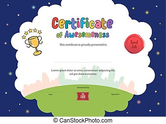 niños, diploma, o, certificado, de, awesomeness, plantilla, con, caricatura, estilo, plano de fondo