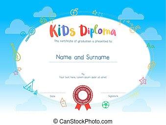 niños, diploma, o, certificado, plantilla, con, caricatura, estilo, plano de fondo