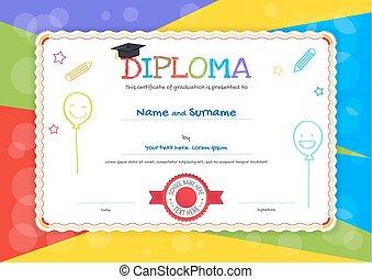 niños, diploma, o, certificado, plantilla, con, mano, dibujo, caricatura, estilo, plano de fondo