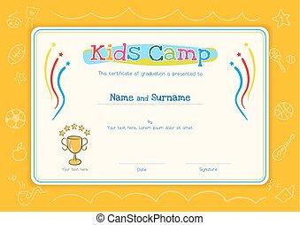 niños, diploma, o, certificado, plantilla, para, niños, campo, con, mano, dibujo, caricatura, estilo, plano de fondo