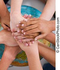 niños, diversidad, manos