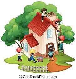 niños, edificio, poco, casa