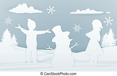 niños, edificio, snowman, papel, arte, estilo