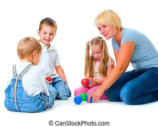 niños, educación, profesor, feliz, niños, juego, piso