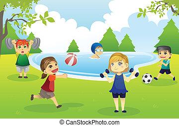 niños, ejercitar, en el estacionamiento