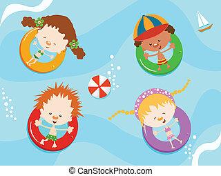 niños, el gozar, agua