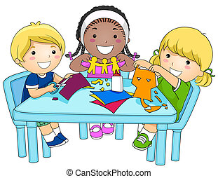 niños, elaboración, recortes papel