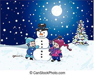 niños, elaboración, un, snowman, en, un, paisaje de invierno, por la noche