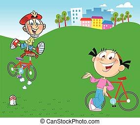 niños, en, bicycles