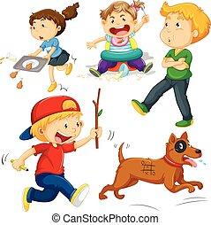 niños, en, diferente, acciones
