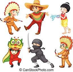 niños, en, diferente, tradicional, trajes