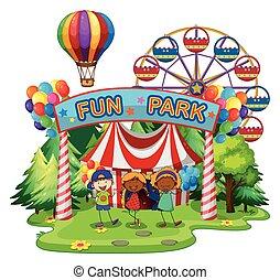 niños, en, diversión, parque