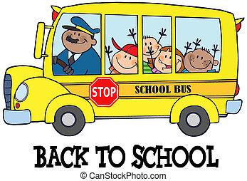 niños, en, eduque autobús, y, texto