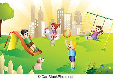 niños, en, el, patio de recreo