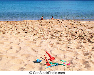 niños, en, el, playa