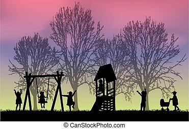 niños, en, el, playground.