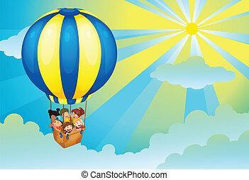 niños, en, globo del aire caliente