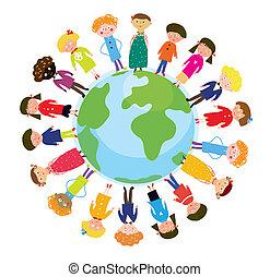 niños, en, globo, internacional, divertido, caricatura