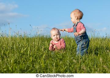 niños, en, hierba verde
