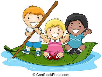 niños, en, hoja, barco