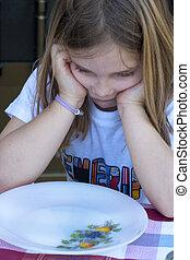niños, en la mesa, comida, retrato, dieta