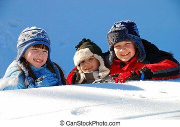 niños, en, nieve