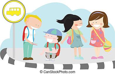 niños, en, parada de autobús