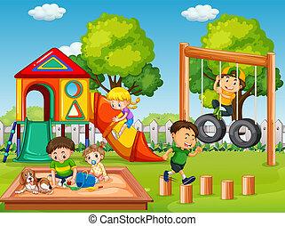 niños, en, patio de recreo, escena
