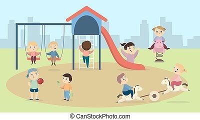 niños, en, playground.