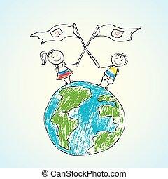 niños, en, tierra de planeta