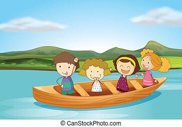 niños, en, un, barco