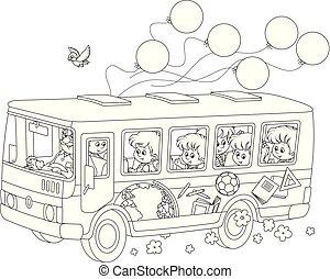 niños, en, un, eduque autobús