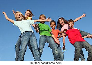 niños, en, verano, júbilo, club, campo
