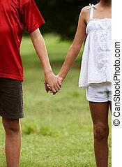 niños, enamorado, niño y niña, manos de valor en cartera
