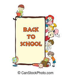 niños, escuela, bosquejo, cartel