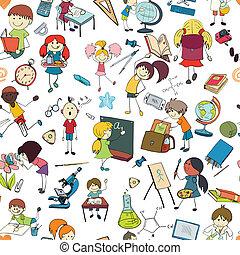 niños, escuela, bosquejo, seamless, patrón