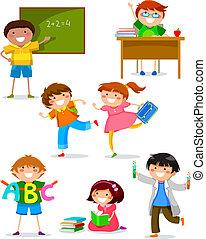niños, escuela
