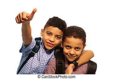 niños, escuela, después, negro, dos