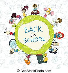 niños, escuela, emblema, bosquejo, cartel