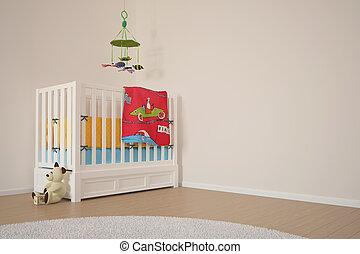 niños, espacio juego, con, cama