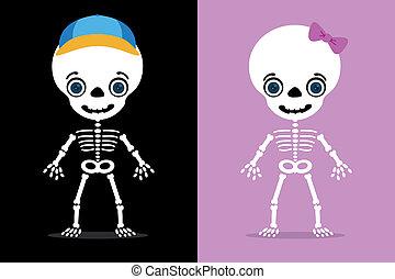 niños, esqueletos