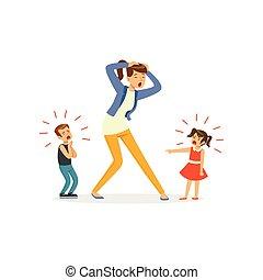 niños, estridente, llanto, ilustración, madre