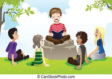 niños, estudiar, biblia