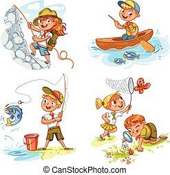 niños, explorador, gente, aventura, campamento